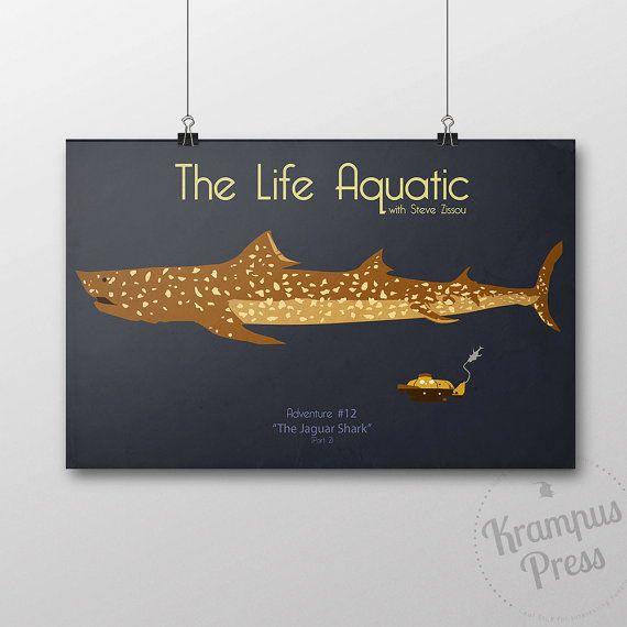 Le Life Aquatic with Steve Zissou - affiche de film de requin Jaguar