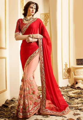 Red Gajari Chinon Net Embrodired Wedding Saree With Blouse Bollywood Sarees Online on Shimply.com