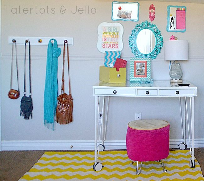 tween bedroom - command station and accessory display. I love the bright colors!