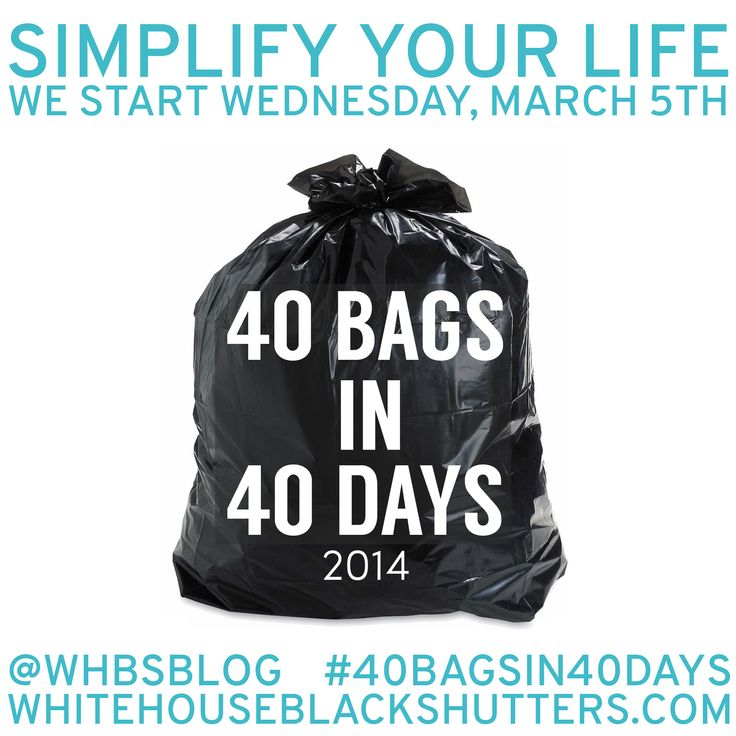 40 Bags in 40 Days 2014 Decluttering Challenge... a much needed lenten lesson and challenge in simplicity