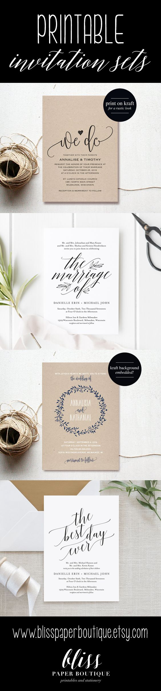 Beautiful rustic and elegant wedding invitations from Bliss Paper Boutique. Instantly download and edit your printable invitation set! After you are done customizing, print as many copies as you need. #weddinginvitation
