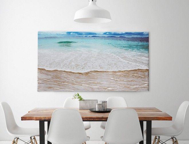 P3120 - BEACH di PINTDECOR cm 120x60  Decorato a mano con materico in rilievo e foglia argento su struttura telata.  #quadro #p3120 #beach #spiaggia #pintdecor #foglia #argento
