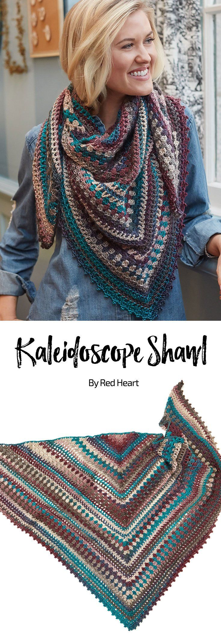 Kaleidoscope Shawl free crochet pattern in Unforgettable yarn.