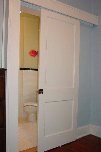 Space saving door for the bathroom. Need to think of pros anc cons to internal wall sliding door.