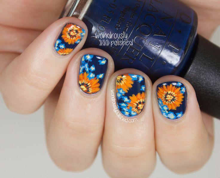 Wondrously Polished: NAGG - Day 5: Blue and Orange Daisy Nail Art