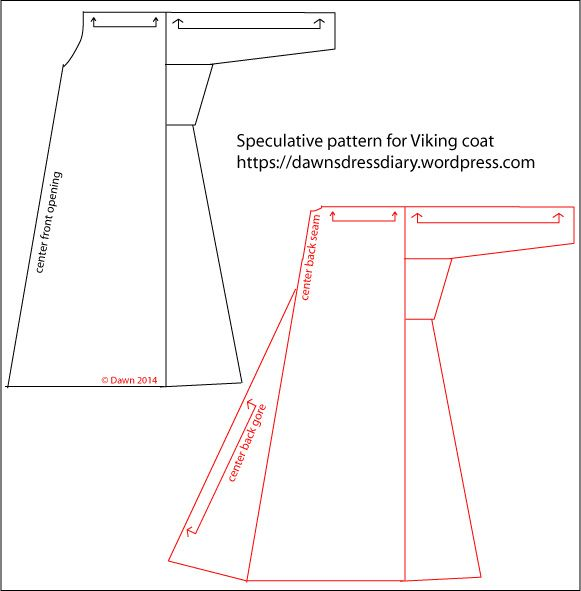 Sketch of the speculative design for a Viking-age coat or caftan, my blog shows the construction and finished version of the coat.