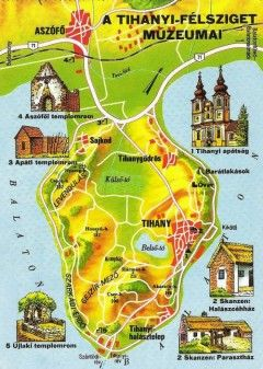 Tihany peninsula map, Balaton