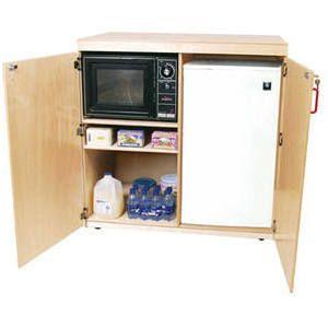 Microwave And Mini Fridge Cabinet