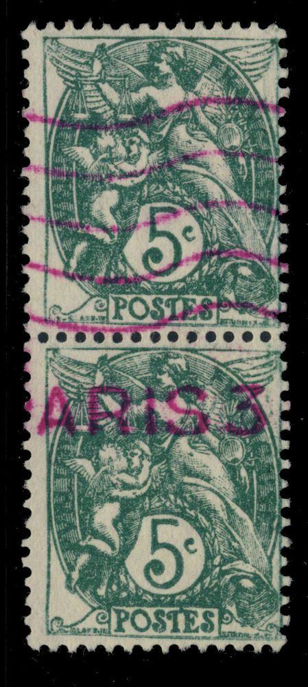 ca.1925/30 - PAIRE N°111 5c BLANC TYPE 2 PRE-OBLITÉRÉE PAR MACHINE À AFFRANCHIR