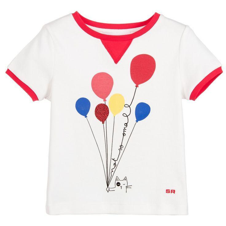 Sonia Rykiel Paris Girls White Cat & Balloons T-Shirt at Childrensalon.com