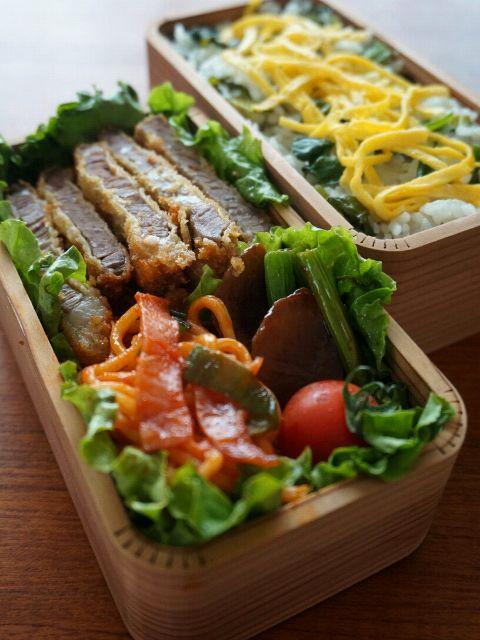 本日のお弁当 高菜めし、ビーフカツ、しいたけとアスパラのオイスターバター、ナポリタン、プチトマ  今日はがっつりビーフカツと熊本名物の高菜めし。ナポリタンはソフトめんのやつ。これがまた旨い(^-^) - 222件のもぐもぐ - ビーフカツ&高菜めし弁当 by キヨシュン