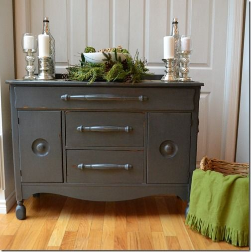 Gorgeous Gray Sideboard at Southern Abbey Home made chalk
