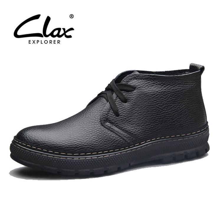 Clax Men's Winter Boot Plush Warm Leather Boots Male Snow Shoes Fur Casual Elegant Fashion Footwear