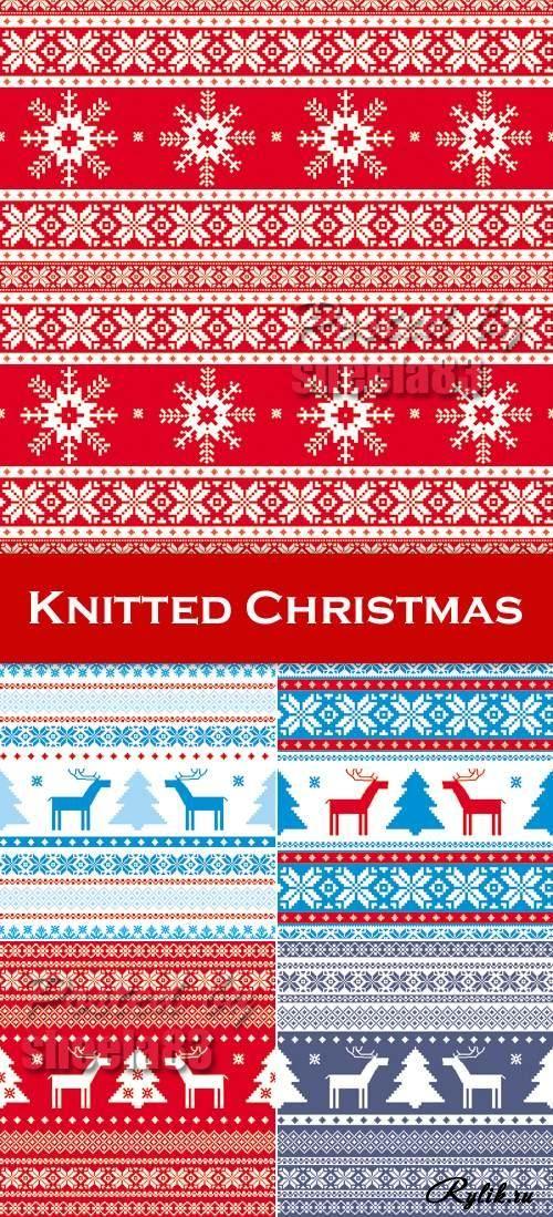 Вязаные рождественские орнаменты и узоры - векторные фоны