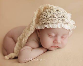 Sombrero de sueño del recién nacido cordón del estiramiento Crema, bebé niñas Elf Hat fotografía Prop, chicas cordón sueño, bebé media estiramiento sombrero, sombrero de elfo anudado