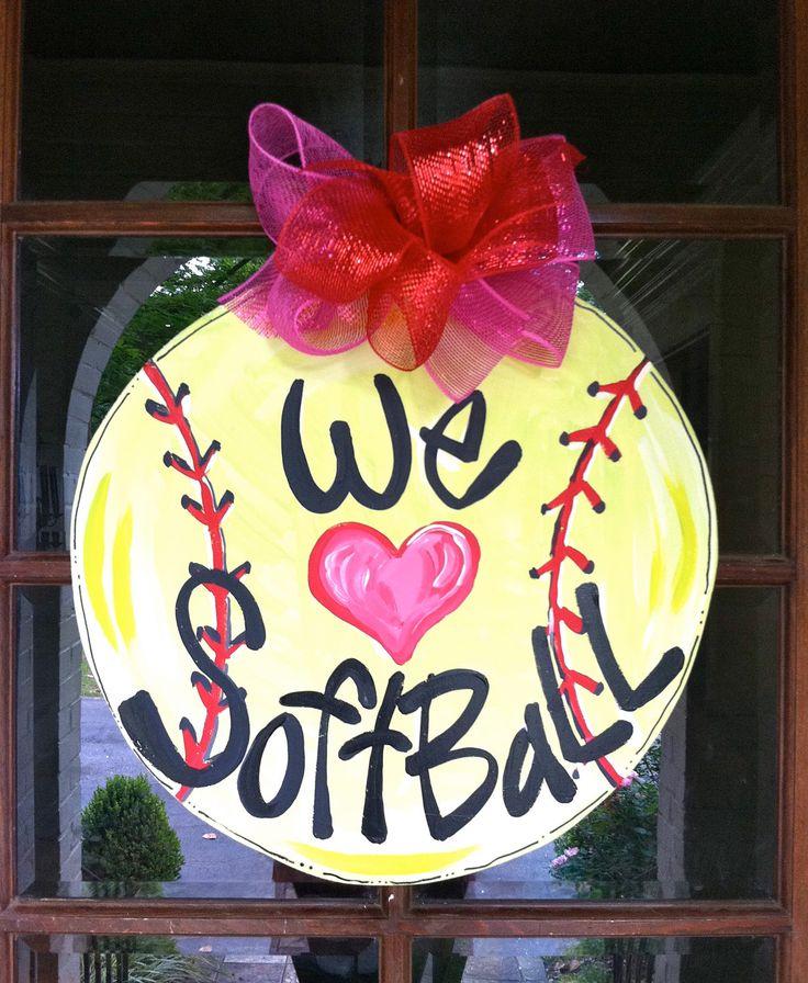 We Love Softball Door Hanger  Bronwyn Hanahan by BronwynHanahanArt, $45.00