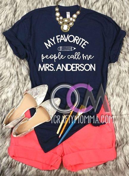 aba0243a My Favorite people call me Teacher Shirt, Custom Teacher Shirt, Personalized  Teacher Gift, Trendy Teacher #Shirts, Teacher Appreciation tee, ...