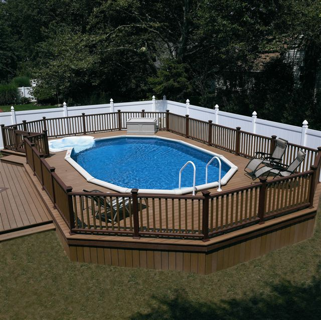 43 best images about large above ground pools on pinterest for Above ground pool decks images
