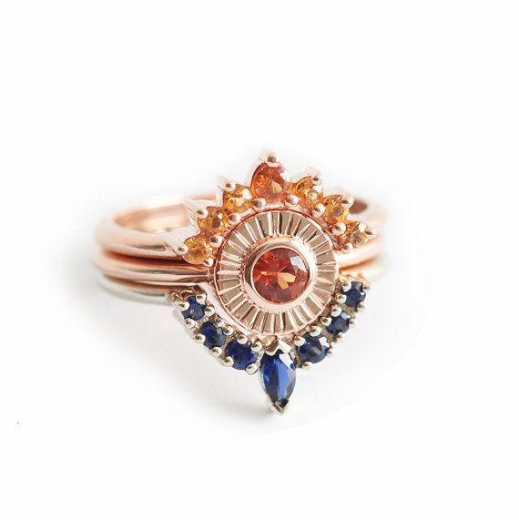 Zonsondergang Ring Set unieke trouwring Set saffier Ring