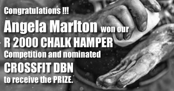Congratulations to Angela Marlton for winning our R 2000.00 CHALK HAMPER Competition and nominating CrossFit DBN to receive the prize. #chalkup #olympiagrip #crossfitdbn CrossFit DBN