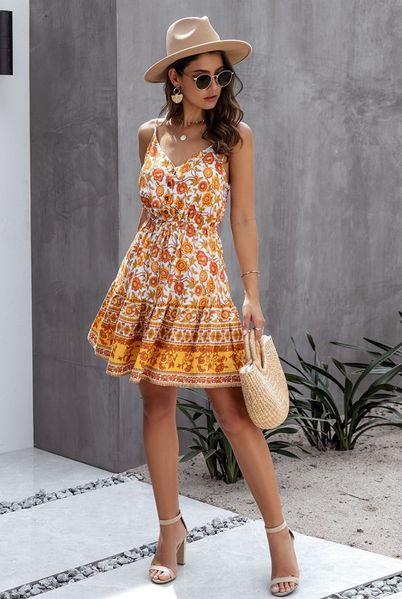 Bohemian Style, Boho Chic, Boho Mini Dress, Flare Skirt, Perfect Fit, Yellow, Orange, Dress Up, Feminine