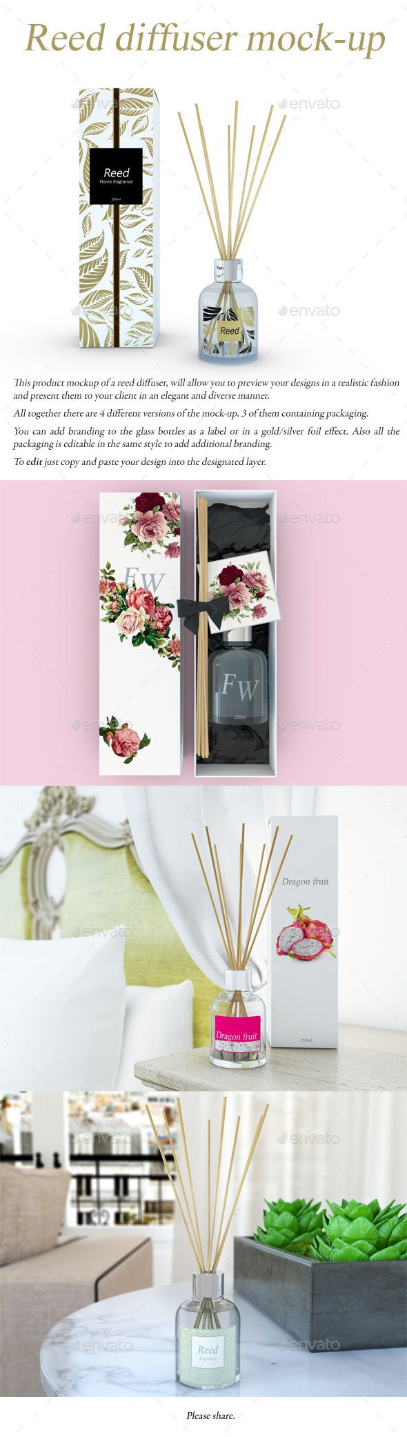 Reed Diffuser MockUp — Photoshop PSD #aroma #candle • Available here → https://graphicriver.net/item/reed-diffuser-mockup/14725261?ref=pxcr