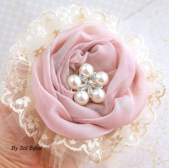 $106.23 Bridesmaids Brooch Bouquet in Ivory, Dusty Rose and Champagne with Chiffon, Lace and Tulle