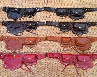 Steampunk Belt Bag   Leather Utility Belt   Burning Man   Fanny Pack   Festival Belt  - The Lotus