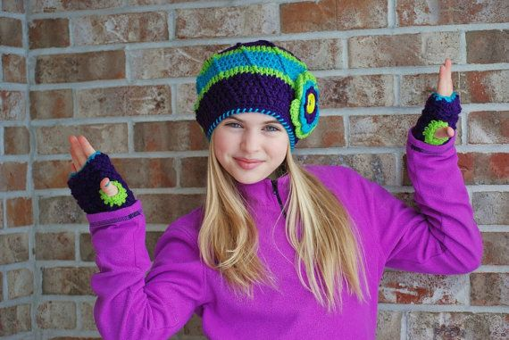 Crochet Hat Purple Teal Blue and Lime Green Tween Fashion Slouchy Hat with Flower via Etsy