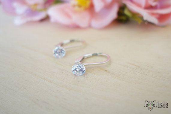 Gorgeous 1 carat 5mm Leverback Dangle Earrings by TigerGemstones