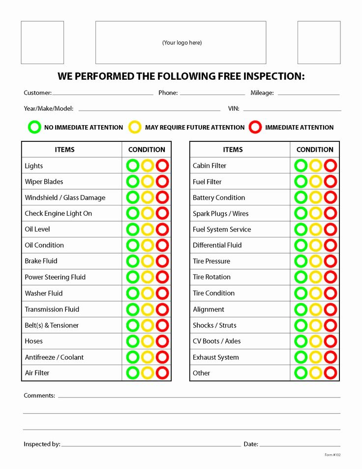 Auto Repair Checklist Template Best Of Free form Mighty