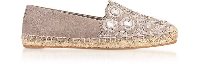 TORY BURCH | Yasmin Dust Storm Suede Embellished Flat Espadrilles #Shoes #TORY BURCH