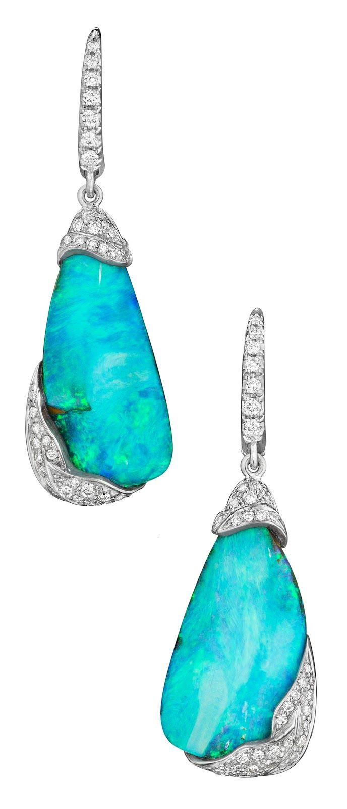 Mimi So ZoZo collection boulder opal and diamond earrings.  Via Diamonds in the Library.