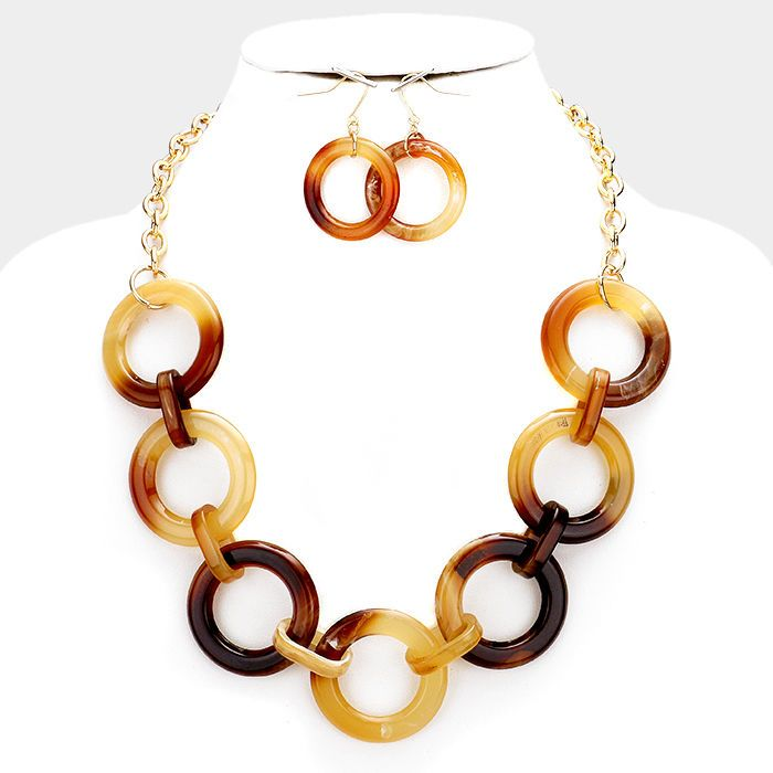 Brown Celluloid Hoop Chain Necklace Earring Women Gold Tone Fashion Jewelry Set #DazzledByJewels #Fashion #Jewelry #Necklace #Earrings #Hoop #Women #Teen #Gift