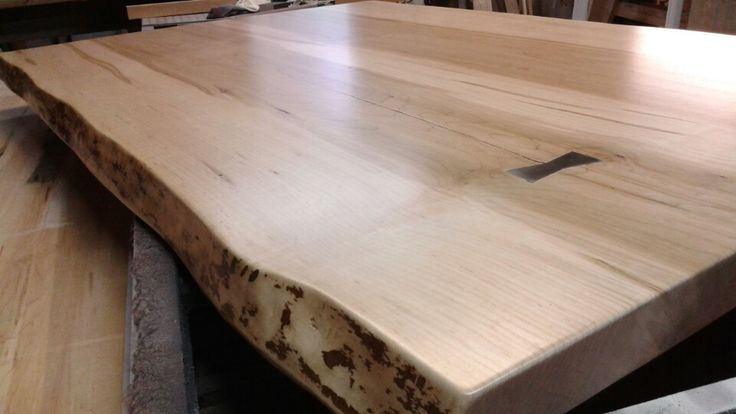 One of our live edge island tops, stainless butterfly detail