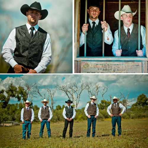 Look at these handsome fellas Jeans, white shirts, cowboy hats, red ties, and boots!
