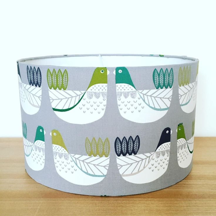 Handmade Fabric Lampshade. Cluck Cluck  by iliv in 'Kiwi' Green & Grey colour way by CandCHomecrafts on Etsy