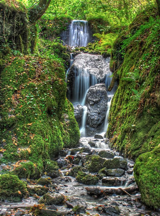 Canonteign falls in Dartmoor National Park, Devon, UK
