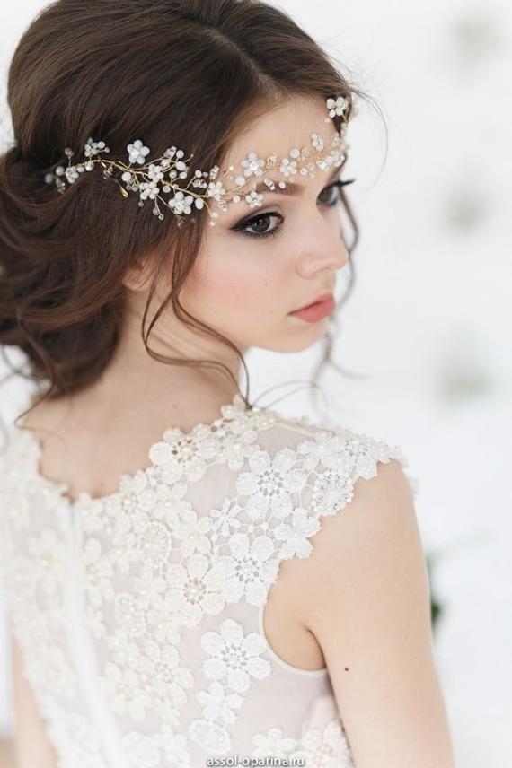 Bridal Wreath Wedding Hair Vine Flower Decorated Wedding HeadBand Bridal Flower Halo Bridal Hair Vine Bridal Hairpiece Floral Hair Piece