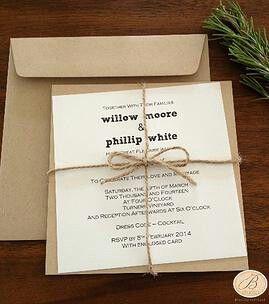 Simple Rustic Wedding Invitations. bstudioweddinginvitations.com