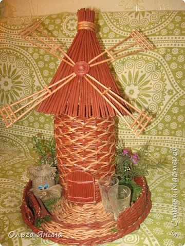 Поделка изделие 23 февраля Плетение Мои плетеные мельницы в подарок мужчинам Бумага газетная фото 1