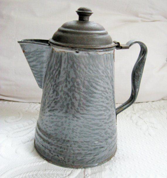 Vintage  Grey Granite Ware FARMHOUSE COFFEE POT 1930s by vintagous, $21.00