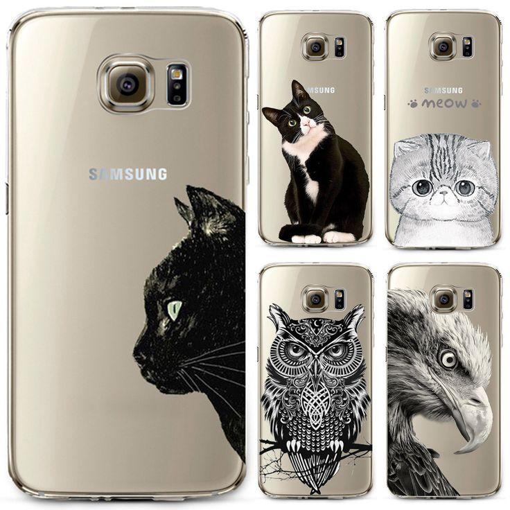 Caja del teléfono para samsung s4 s5 s6 s6edge s6edge + s7 s7edge n4 N5 Cubierta Linda Del Gato Búho Animal Soft TPU de Silicona Transparente Delgada Cubierta