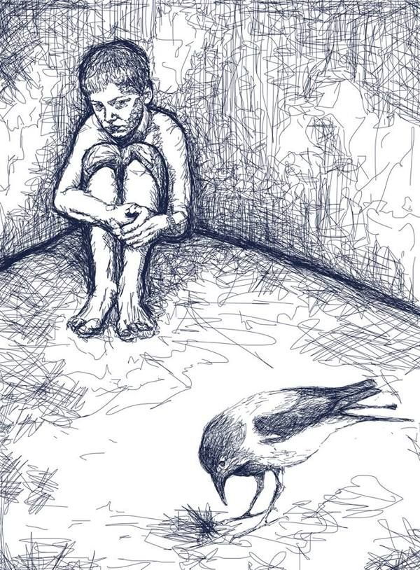 A boy and a crow - a citation by Anni Leppanen, via Behance