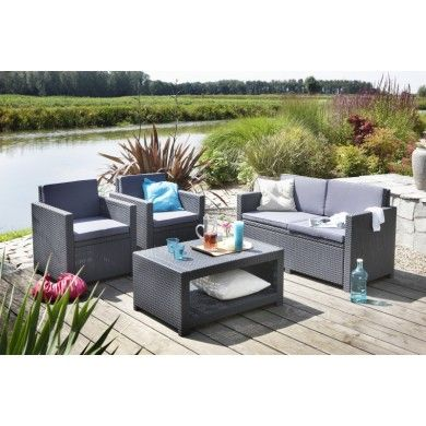 #Allibert #loungeset #divano #giardino #salottino #poltrona #rattan #tecnorattan #polyrattan #wicker  VENDITA ON LINE www.redesiderio.it