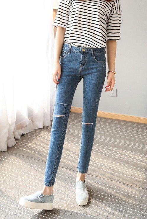 CW28686 Korean style slim spring simple washed feet long pants - Megan CloClothing
