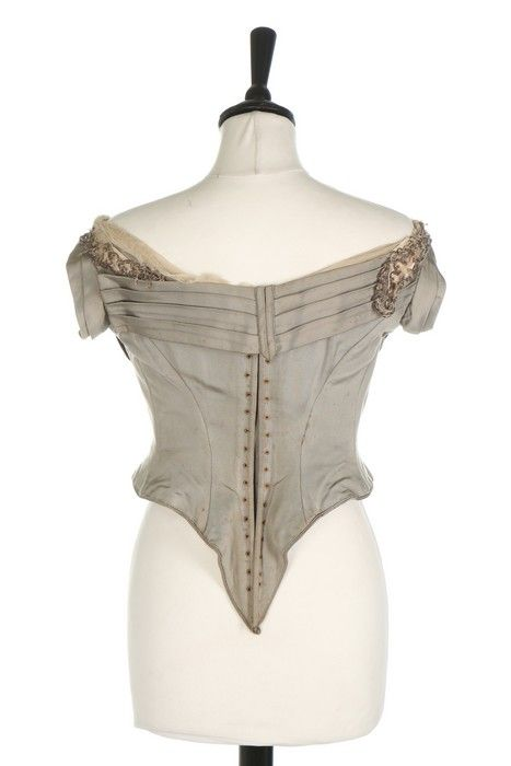 Bodice (image 3) | House of Worth | France; Paris | 1885-1890 | silk faille, tulle, sequins | Kerry Taylor Auctions | October 11, 2016/Lot 140