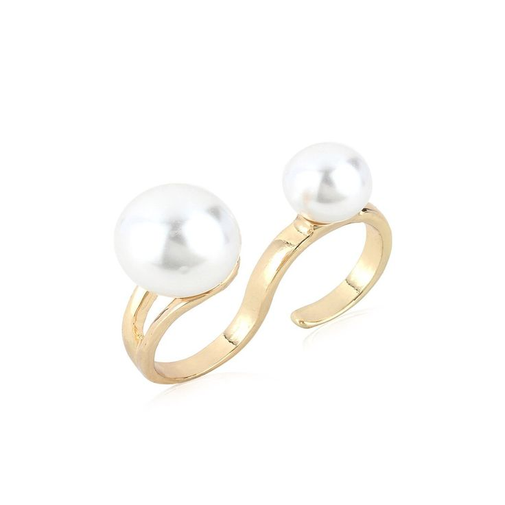 Attractive Pearl with  golden colour Ring . Occasion: Wedding & Traditional wear Shop Now:https://www.jumkey.com/products/toniq-gold-double-finger-ring