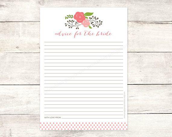 printable bridal shower advice card DIY pink bouquet polka dots wedding shower bridal shower digital games - INSTANT DOWNLOAD on Etsy, $5.64 CAD
