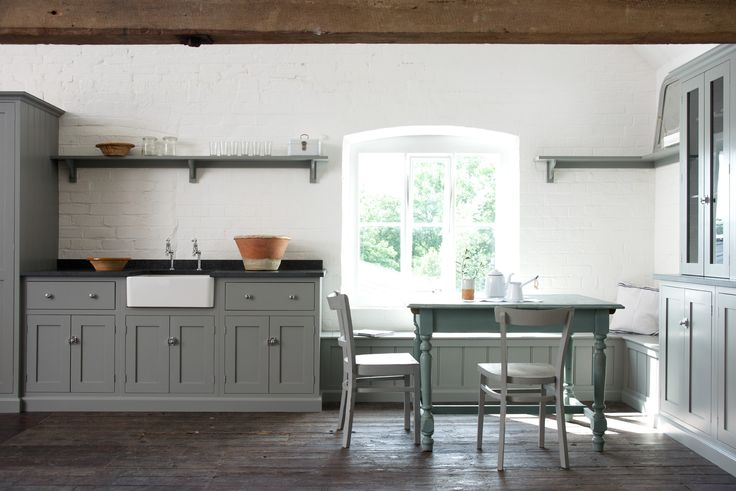 The brand new Loft Shaker Kitchen at Cotes Mill - by deVOL Kitchens. This contemporary Shaker kitchen on the top floor of Cotes Mill has a continental feel. Our new 'Lead' colour creates a soft and mellow atmosphere. Black granite worktops and chrome catches mixed with classic vintage pieces make for a very modern rustic look.